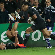 Israel Dagg, New Zealand, passes the ball to Ma'a Nonu to score New Zealand's try during the New Zealand V Australia Semi Final match at the IRB Rugby World Cup tournament, Eden Park, Auckland, New Zealand, 16th October 2011. Photo Tim Clayton...