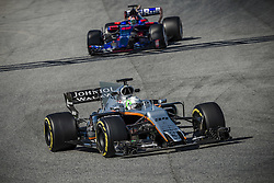 March 1, 2017 - Montmelo, Catalonia, Spain - ALFONSO CELIS (MEX) drives in his Williams Mercedes FW40 on track followed by DANIIL KVYAT (RUS) of team  Toro Rosso during day 3 of Formula One testing at Circuit de Catalunya (Credit Image: © Matthias Oesterle via ZUMA Wire)