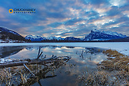 Clouds reflect into Vermillion Lake in Banff National Park, Alberta, Canada