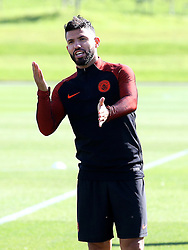 Sergio Aguero of Manchester City gestures during training - Mandatory by-line: Matt McNulty/JMP - 23/08/2016 - FOOTBALL - Manchester City - Training session ahead of Champions League qualifier against Steaua Bucharest