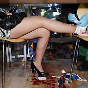 Picture Robert Perry.  David Miller Paramedic around Glasgow .  A girl injured by a glass in Glasgow Nightclub.  .  19 Dec 2009