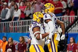 Terrace Marshall Jr. #6 of the LSU Tigers reacts to scoring a touchdown against the Oklahoma Sooners during the first half of the 2019 College Football Playoff Semifinal at the Chick-fil-A Peach Bowl on Saturday, Dec. 28, in Atlanta. (Paul Abell via Abell Images for the Chick-fil-A Peach Bowl)