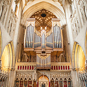 Pipe organ of Wells Cathedral in Wells, Somerset, United Kingdom. Some of the building dates back to the 10th Century.