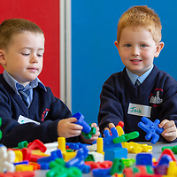 Tom Moyles and Jack Manley on their First day at school at Scoil Na Mainistreach Quin Dangan