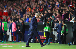 Arsenal manager Arsene Wenger leaves the pitch after the final whistle of the UEFA Europa League, Semi Final, Second Leg at Wanda Metropolitano, Madrid.