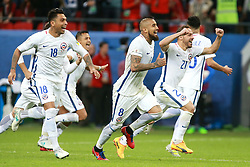 June 28, 2017 - Moscow, Russia - June 28, 2017. Russia, Kazan, Kazan Arena Stadium. FIFA Confederations Cup 2017. Chile's players celebrate winning during match between Chile and Portugal (Credit Image: © Russian Look via ZUMA Wire)