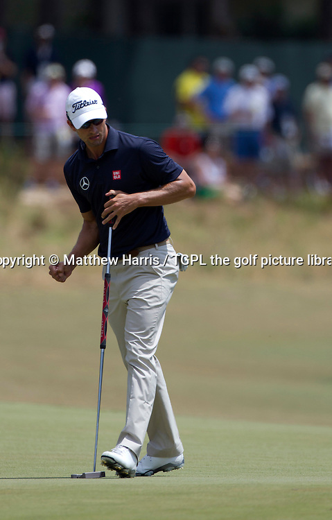 Adam SCOTT (AUS) birdies 5th during second round US Open Championship 2014,Pinehurst No 2,Pinehurst,North Carolina,USA.