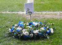 One of the memorial wreaths<br /> <br /> Photographer Dave Howarth/CameraSport<br /> <br /> The EFL Sky Bet League Two - Bolton Wanderers v Cambridge United - Tuesday 9th March 2021 - University of Bolton Stadium - Horwich, Bolton<br /> <br /> World Copyright © 2021 CameraSport. All rights reserved. 43 Linden Ave. Countesthorpe. Leicester. England. LE8 5PG - Tel: +44 (0) 116 277 4147 - admin@camerasport.com - www.camerasport.com