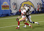 San Francisco 49ers wide receiver DeAndrew White (18) is unable to catch a pass near the end zone while defended by San Diego Chargers cornerback Larry Scott (41) during the 2016 NFL preseason football game against the San Diego Chargers on Thursday, Sept. 1, 2016 in San Diego. The 49ers won the game 31-21. (©Paul Anthony Spinelli)