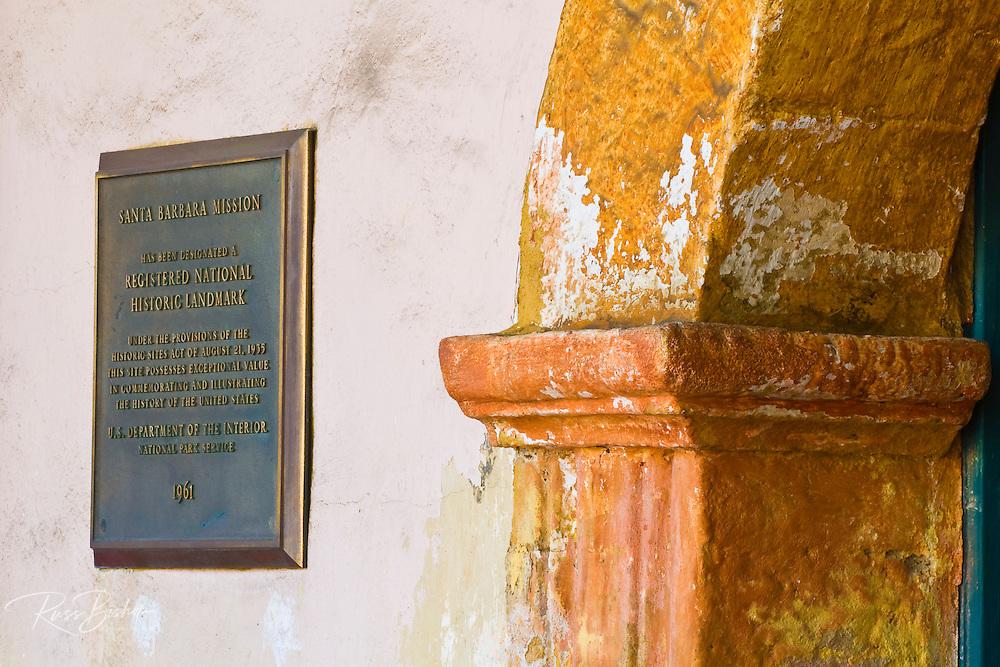 Plaque and arch, Santa Barbara Mission (Queen of the missions), Santa Barbara, California