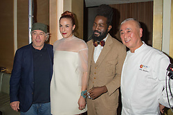 Left to right, ROBERT DE NIRO,  MARY ALICE MALONE, ROY LUWOLT and NOBU MATSUHISA at a party to celebrate the 10th anniversary of Nobu Berkeley Street held on 5th November 2015.