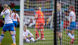 NEWPORT, WALES - Thursday, October 22, 2020: Wales' Helen Ward celebrates after scoring the first goal with team-mate Jessica Fishlock during the UEFA Women's Euro 2022 England Qualifying Round Group C match between Wales Women and Faroe Islands Women at Rodney Parade. Wales won 4-0. (Pic by David Rawcliffe/Propaganda)