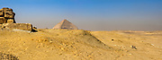 Remains of an ancient wall in the desert in thre vicinity of the Bent Pyramid in Dahshur