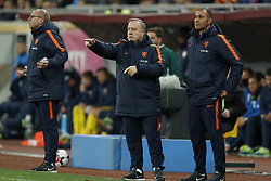 (L-R) assistant trainer Fred Grim of Holland, coach Dick Advocaat of Holland, assistant trainer Ruud Gullit of Holland during the friendly match between Romania and The Netherlands on November 14, 2017 at Arena National in Bucharest, Romania