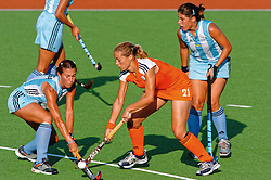 Lieve van Kessel of the Netherlands in action against Argentina during Olympics Games Athletics day 12 on August 24, 2004 in Olympiako Kentro Khokei, Athens.