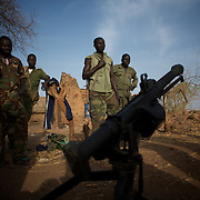 May 01, 2012 - Kauda, Nuba Mountains, South Kordofan, Sudan: Sudan People?s Liberation Movement (SPLA-N) rebel fighters show weapons and ammunition captured from Sudan's Armed Forces (SAF) during recent combats in the rebel-held territory of the Nuba Mountains in South Kordofan. ..SPLA-North, a historical ally of SPLA, South Sudan's former rebel forces, has since last June being fighting the Sudanese Army Forces (SAF) over the right to autonomy and of the end of persecution of Nuba people by the regime of President Bashir. (Paulo Nunes dos Santos/Polaris)