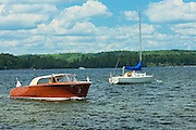 Wooden boat in Lake of Bays<br /> Near Dorset<br /> Ontario<br /> Canada