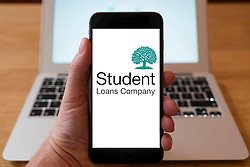 Using iPhone smartphone to display logo of the Student Loan Company