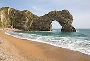 Famous natural coastal arch of Durdle Door on the Jurassic coast, Dorset, England