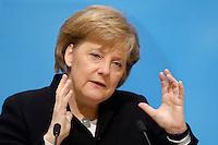 23 JAN 2006, BERLIN/GERMANY:<br /> Angela Merkel, CDU Bundesvorsitzende und Bundeskanzlerin, waehrend einer Pressekonferenz, Konrad-Adenauer-Haus<br /> Angela Merkel, Federal Chancellor of Germany, during a press conference, Konrad-Adenauer-Haus<br /> IMAGE: 20060123-02-010
