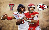 Patrick Mahomes Kansas City Chiefs and Texas Tech Red Raiders.