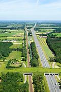 Nederland, Gelderland, gemeente Utrechtse Heuvelrug, 09-06-2016; ecoduct Rumelaar, A12 en spoorlijn Utrecht-Arnhem, ten oosten van Marsbergen. Verbindt natuurgebieden Leersumsche Veld met Rumelaar.<br /> Ecoduct motorway A12 and railway Utrecht-Arnhem.<br /> <br /> luchtfoto (toeslag op standard tarieven);<br /> aerial photo (additional fee required);<br /> copyright foto/photo Siebe Swart