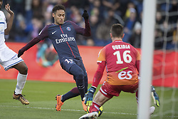 Neymar Jr of Paris Saint-Germain in action with Alexandre Oukidja of RC Strasbourg during the Ligue 1 match between Paris Saint Germain and RC Strasbourg at the Parc des Princes in Paris, FRANCE on February 17, 2018.Paris Saint Germain won RC Strasbourg with 5-2 (Credit Image: © Jack Chan/Chine Nouvelle/Xinhua via ZUMA Wire)