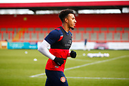 Stevenage FC player warming up during the EFL Sky Bet League 2 match between Stevenage and Walsall at the Lamex Stadium, Stevenage, England on 20 February 2021.