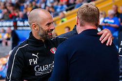 Rotherham United manager Paul Warne and Mansfield Town manager David Flitcroft share a hug before kick off - Mandatory by-line: Ryan Crockett/JMP - 28/07/2018 - FOOTBALL - One Call Stadium - Mansfield, England - Mansfield Town v Rotherham United - Pre-season friendly