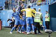 Philippe Coutinho of Brazil celebrates after his goal with teammates during the 2018 FIFA World Cup Russia, Group E football match between Brazil and Costa Rica on June 22, 2018 at Saint Petersburg Stadium in Saint Petersburg, Russia - Photo Thiago Bernardes / FramePhoto / ProSportsImages / DPPI