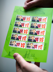 © London News Pictures. 24/09/2012. Brighton, UK.  A set of genuine and usable Royal Mail stamps with a picture of  Deputy Prime Minister, Nick Clegg on them. The stamps were created from a picture taken of Nick Clegg while he visited the Royal Mail stand while on a walk around on  day 3 of the Liberal Democrat Conference on September 24, 2012. Photo credit : Ben Cawthra/LNP.