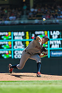 Cleveland Indians starter Ubaldo Jimenez pitches against the Minnesota Twins at Target Field in Minneapolis, Minnesota on July 29, 2012.  The Twins defeated the Indians 5 to 1.  © 2012 Ben Krause