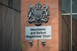 """© Licensed to London News Pictures . Manchester , UK . GV of Manchester and Salford Magistrates' Court as today (23rd July 2015) Liam Edwards has been sentenced to a four-week curfew to run between 2100 and 0700 at Manchester Magistrates' Court . Edwards was charged with Causing Racially or Religiously Aggravated Criminal Damage . On 18th February 2015 , stickers reading """" Beware! Halal is barbaric and funds terrorism """" were placed by Edwards on products and displays in Sainsbury's supermarket , on Regent Road in Salford . Photo credit : Joel Goodman/LNP"""