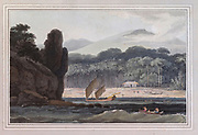 Cape Richardo, the most conspicuous object in the plate, is a scene of perpetual beauty and fertility, where the energy of vegetation is never exhausted, and luxury is spontaneously offered by nature. colour print from the book ' A Picturesque Voyage to India by Way of China  ' by Thomas Daniell, R.A. and William Daniell, A.R.A. London : Printed for Longman, Hurst, Rees, and Orme, and William Daniell by Thomas Davison, 1810. The Daniells' original watercolors for the scenes depicted herein are now at the Yale Center for British Art, Department of Rare Books and Manuscripts,