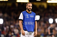 Gonzalo Higuain of Juventus warms up during the UEFA Champions League Final match between Real Madrid and Juventus at the National Stadium of Wales, Cardiff, Wales on 3 June 2017. Photo by Giuseppe Maffia.<br /> <br /> Giuseppe Maffia/UK Sports Pics Ltd/Alterphotos