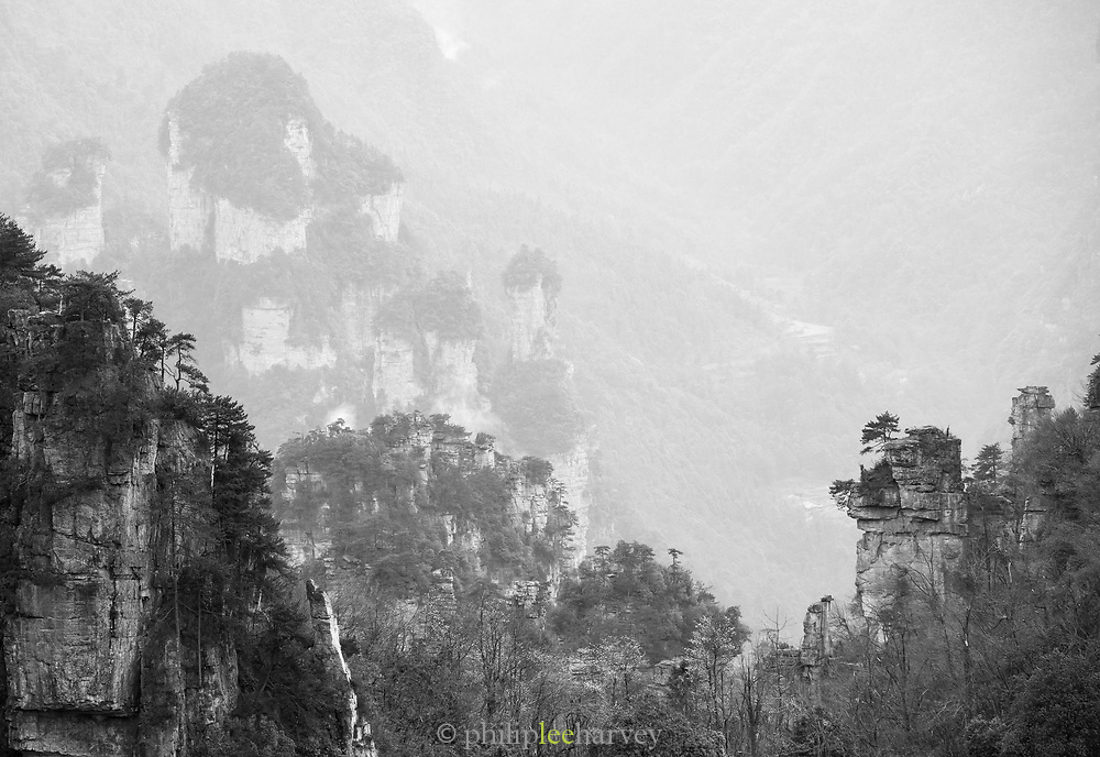 Majestic black and white landscape with mountains with steep cliffs, Zhangjiajie National Forest Park, Hunan Province, China