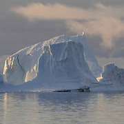 Chunks of the Ilulissat Kangerlua Glacier, the world's most prolific glacier outside of Antarctica, make their way out to sea and into Davis Straits. Greenland