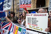 Pro remain protesters in Westminster on the day that Parliament reconvenes after summer recess to debate and vote on a bill to prevent the UK leaving the EU without a deal at the end of October, on 3rd September 2019 in London, England, United Kingdom.