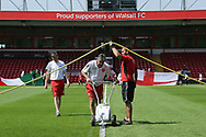 Ground staff marking out the pitch during the UEFA European Under 17 Championship 2018 match between England and Italy at the Banks's Stadium, Walsall, England on 7 May 2018. Picture by Mick Haynes.