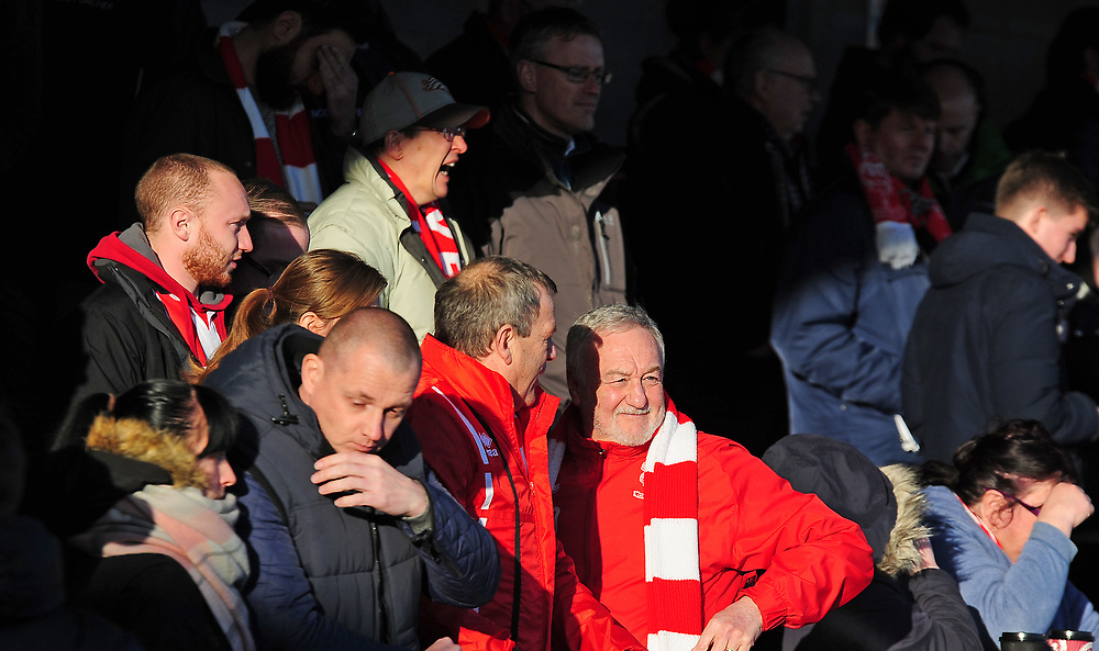 Lincoln City fans enjoy the pre-match atmosphere<br /> <br /> Photographer Andrew Vaughan/CameraSport<br /> <br /> The EFL Sky Bet League Two - Crawley Town v Lincoln City - Saturday 17th February 2018 - Broadfield Stadium - Crawley<br /> <br /> World Copyright © 2018 CameraSport. All rights reserved. 43 Linden Ave. Countesthorpe. Leicester. England. LE8 5PG - Tel: +44 (0) 116 277 4147 - admin@camerasport.com - www.camerasport.com