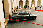 Italian Prime Minister's car arriving at the internal court of Chigi Palaca to partecipate at the bell ceremony, marking the start of the new Cabinet's first meeting in Rome on September 5, 2019.