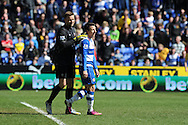 Reading's Adam Le Fondre is pushed away by Southampton keeper Artur Boruc (l) after Le Fondre  feels that his header at goal had crossed the line.  Barclays Premier league, Reading v Southampton at the Madejski stadium in Reading on Saturday 6th April 2013. pic by Andrew Orchard, Andrew Orchard sports photography,