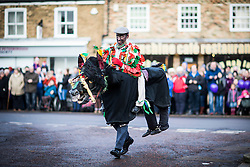DATE CORRECTION. IMAGES SHOT 14/01/2017 © Licensed to London News Pictures. 14/01/2017. Whittlesey UK. Picture shows a member of the Rutland Morris dancers at the 38th Whittlesey Straw Bear Festival this weekend. In times past when starvation bit deep the ploughmen of the area where drawn to towns like Whittlesey, They knocked on doors begging for food & disguised their shame by blackening their faces with soot. In Whittlesey it was the custom on the Tuesday following Plough Monday to dress one of the confraternity of the plough in straw and call him a Straw Bear. The bear was then taken around town to entertain the folk who on the previous day had subscribed to the rustics, a spread of beer, tobacco & beef. The bear was made to dance in front of houses & gifts of money, beer & food was expected. Photo credit: Andrew McCaren/LNP