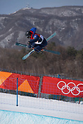 Rowan Cheshire, Great Britian, during ski halfpipe practice during the Pyeongchang Winter Olympics on 16th February 2018 at Phoenix Snow Park in South Korea