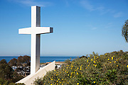 White Cross on a Hill in San Clemente Overlooking the Ocean