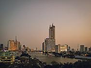 Sunset over Chao Praya River in Bangkok Thailand