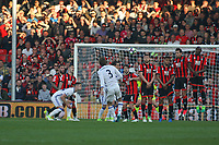 Football - 2016 / 2017 Premier League - AFC Bournemouth vs. Chelsea<br /> <br /> Marcos Alonso of Chelsea curls a free kick over the wall to score Chelseas third goal at the Vitality Stadium (Dean Court) Bournemouth<br /> <br /> COLORSPORT/SHAUN BOGGUST