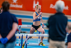 Anouk Vetter in action on the 60 meters hurdles during limit matches to be held simultaneously with the Dutch Athletics Championships on 14 February 2021 in Apeldoorn