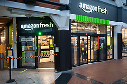 © Licensed to London News Pictures. 04/03/2021. London, UK. The first AMAZON GO grocery store in the UK opens in Ealing, West London. Shoppers need to use app to shop inside the store and pick up groceries without stopping to pay. Photo credit: London News Pictures