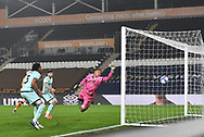 GOAL Gabriel Osho of Rochdale (3) scores own goal for Hull to go 2-0 during the EFL Sky Bet League 1 match between Hull City and Rochdale at the KCOM Stadium, Kingston upon Hull, England on 2 March 2021.